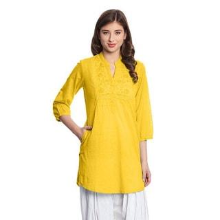 In-Sattva Women's Indian Yellow Cotton Embroidered Kurta Tunic