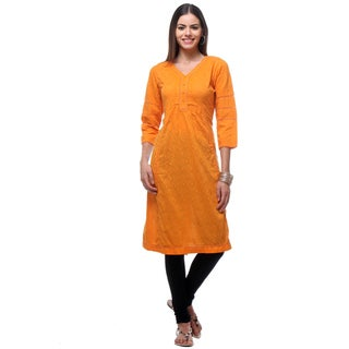 In-Sattva Women's Orange Cotton Indian Embroidered Patterned Kurta Tunic