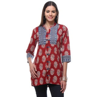 In-Sattva Women's Indian Blue/Red Cotton Button Down Printed Tunic Shirt