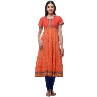 In-Sattva Women's Orange Cotton Long Kurta Tunic
