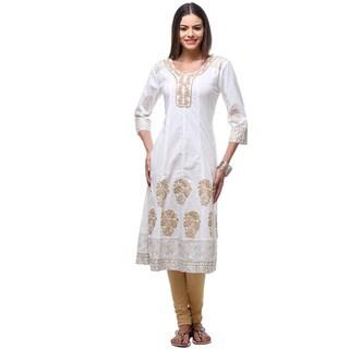In-Sattva Women's Indian Elegant Gold Block Print Detailed Kurta Tunic