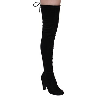Cape Robbin Women's Black Faux Suede Over-the-knee High-heel Boots