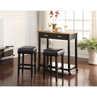 Maroth Black Wood and PU 3-piece Counter Height Breakfast Set