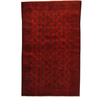 Herat Oriental Afghan Hand-knotted 1980s Semi-antique Tribal Balouchi Red/ Navy Wool Rug (3'8 x 6')