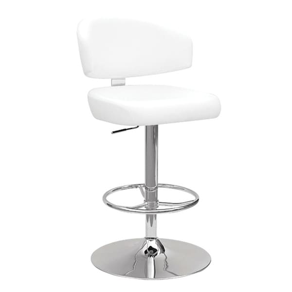 Deka White PU and Chrome Steel Adjustable Stool with Swivel