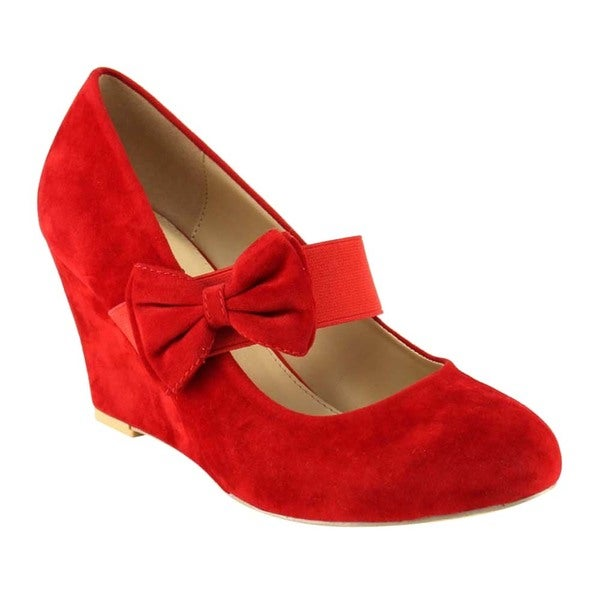 PAZZLE GC93 Women's Mary Jane Bowknot Deco Wedge Heel Pumps One Size Smaller 19271010
