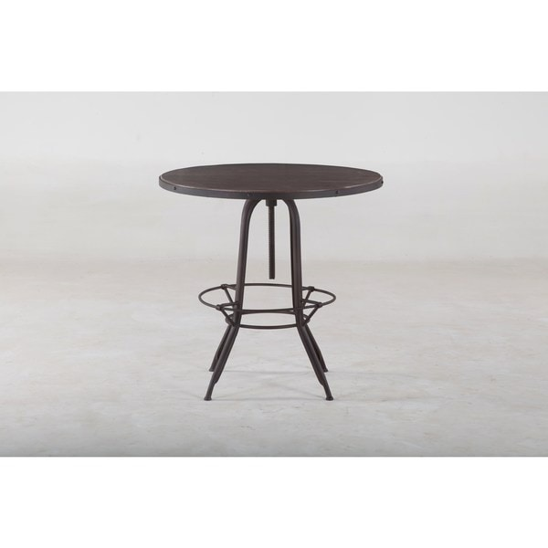 Pub Table Adjustable Solid Mango Wood Top Bar Pub Table with Metal Legs