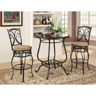 Tavio Antique Black Metal Swivel Bar Chairs (Set of 2)