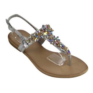 Bella Luna Women's Silver Faux Leather Flat Sandal