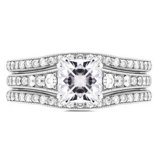 Annello 14k White Gold 1 1/10ct Cushion Moissanite and 1/2ct TDW Diamond 3-piece Bridal Set (G-H, I1-I2)