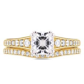 Annello 14k Yellow Gold 1 1/10ct Cushion Moissanite and 2/5ct TDW Diamond Bridal Set (H-I, I1-I2)