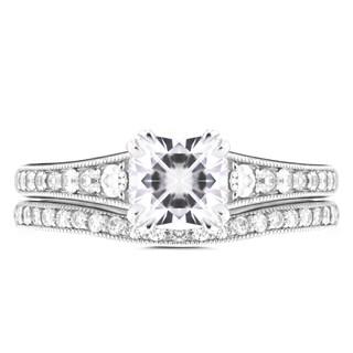 Annello 14k White Gold 1 1/10ct Cushion Moissanite and 2/5ct TDW Diamond Bridal Set (H-I, I1-I2)