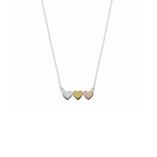 Boma by Pealyta Rose Gold/Gold/Sterling Silver 18-inch Three Heart Love Necklace