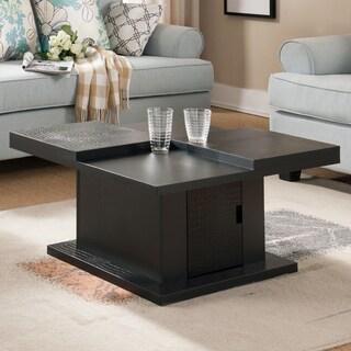 Furniture of America Croliz Modern Black Crocodile Textured Square Coffee Table