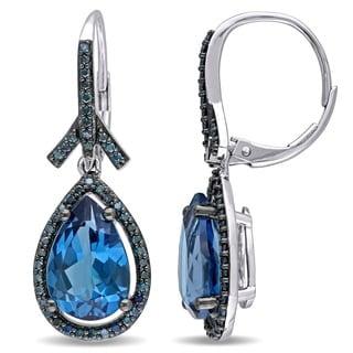 Miadora Signature Collection 14k White Gold Pear-cut London Blue Topaz 1/2ct TDW Blue Diamond Teardrop Leverback Halo Earrings