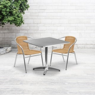 31.5-inch Square Aluminum Indoor-Outdoor Table with 2 Rattan Chairs