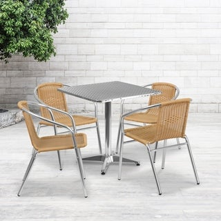 27.5-inch Square Aluminum Indoor-Outdoor Table with 4 Rattan Chairs
