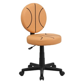 Black, Orange Faux Leather, Metal, Nylon Basketball Design Armless Swivel Adjustable Office Chair