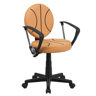 Black/Orange Nylon/Metal/Faux Leather Basketball Design Swivel Adjustable Office Chair