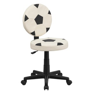 Black and White Swivel Adjustable Armless Soccer Ball Design Office Chair