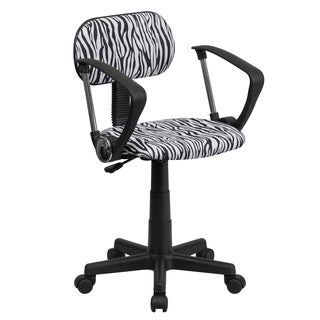 Black Fabric, Metal, and Nylon Zebra Print Swivel Adjustable Office Chair