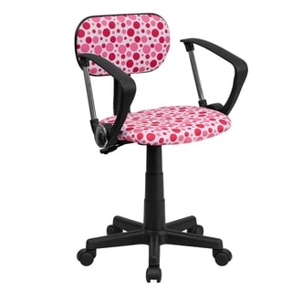 Pink Fabric/Metal Dot-design Swivel Adjustable Office Chair