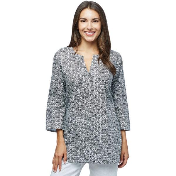 Black & White Swirls Cotton Tunic (India)