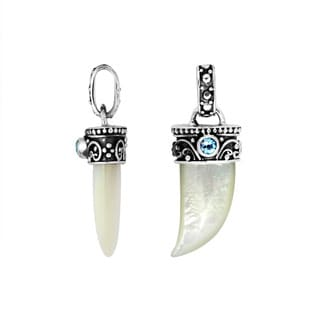 Handcrafted Sterling Silver Mother of Pearl Blue Topaz Horn Pendant (Indonesia)