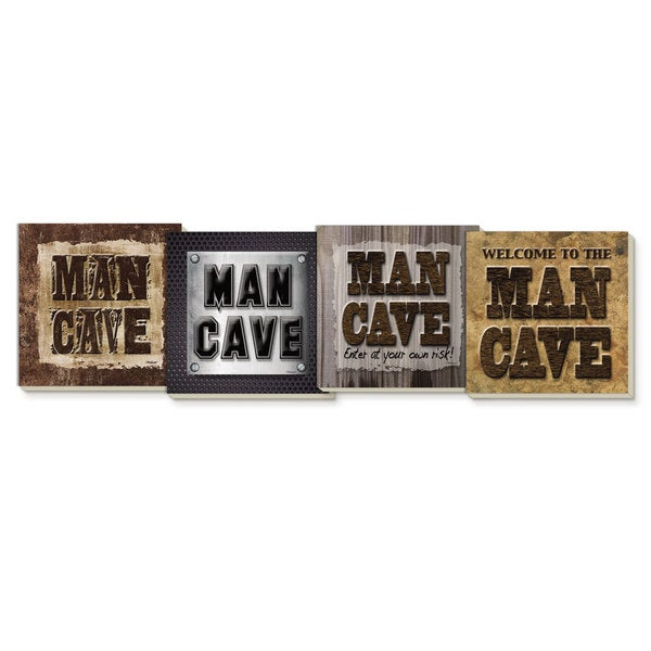 Counterart Man Cave Design Absorbent Stone Coaster (Set of 4)