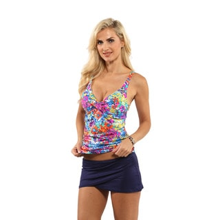 Anne Cole Floral Print Underwire Twist Tankini Top with Sarong Swim Skirt Bottom