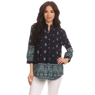 MOA Collection Women's Ornate V-neck Tunic