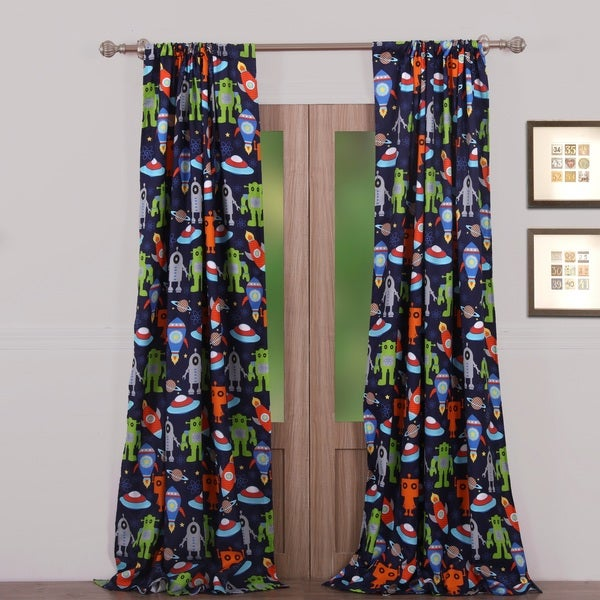 Greenland Home Fashions Robots in Space Window Curtain Panel Pair