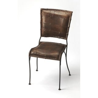 Handmade Maverick Iron and Leather Side Chair (India)