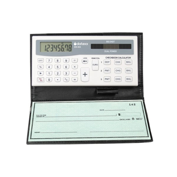 Teledex Inc White ABS/Aluminum/Paper 3-memory Checkbook Calculator with Banking or Credit Balance Tracking