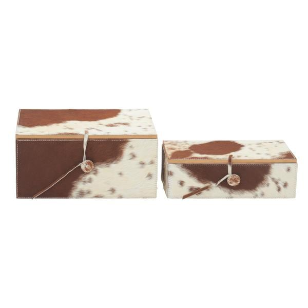 Natural Wood Leather Hide 10-inch x 11-inch Boxes (Set of 2)