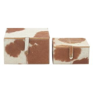 Wood/Leather Cowhide 8-inch x 10-inch Boxes (Set of 2)