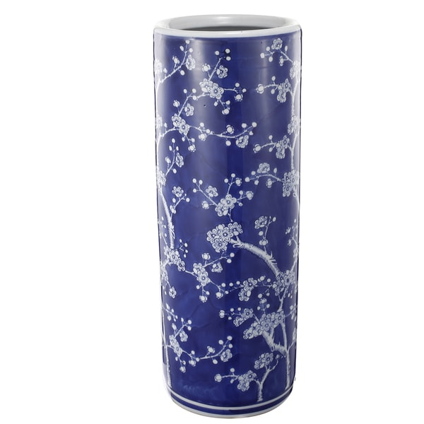 Indigo Ceramic 7.7-inch x 20-inch Tapered Umbrella Stand