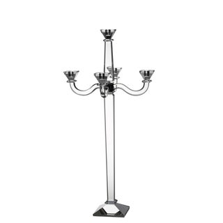 Crystal Glass 5.5-inch x 15-inch 5-candle Candelabra