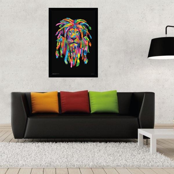 Lion Rasta 24-inch x 36-inch Framed Poster Print
