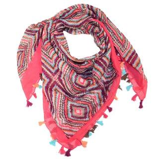 LA77 Women's JJ1004046 Cotton Colorful Square Tribal Pattern Tassel Scarf