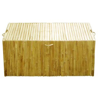 Zew Handcrafted Indoor/Outdoor Bamboo Storage Large Ottoman Trunk Box Chest Bench