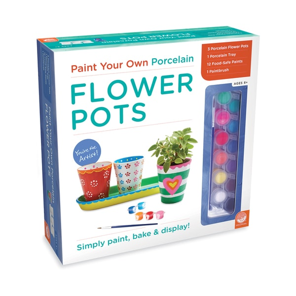 Mindware Paint Your Own Porcelain Flower Pots