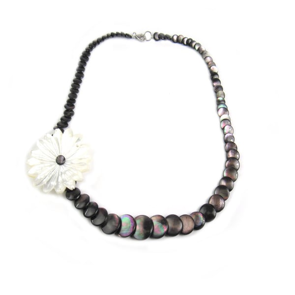 Pearl Lustre Sterling Silver Mother of Pearl Flower Necklace