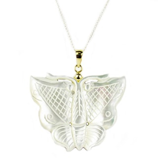 14k Gold Mother of Pearl Butterfly Pendant Necklace