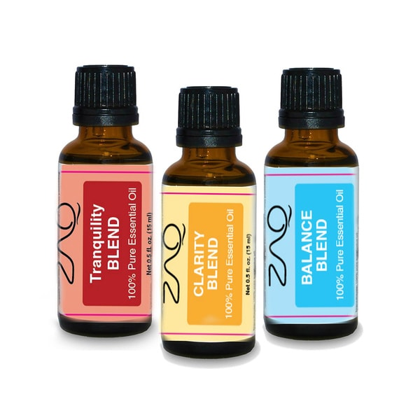 ZAQ Aromatherapy 3-piece Tranquility, Clarity, and Balance 0.5-ounce Essential Oil Set