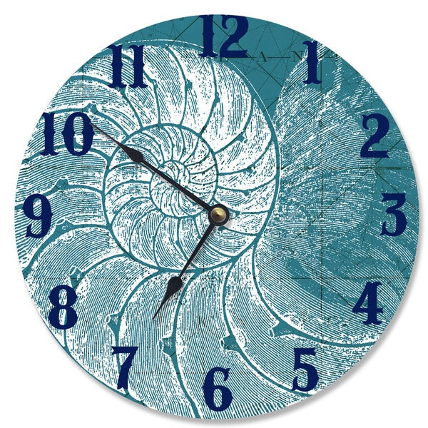 Blue/White Wood Wall Clock