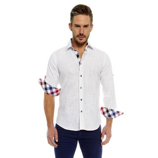Suslo Couture Men's White/Multicolor Cotton Print Button-up Long-sleeve Shirt