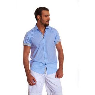 Suslo Couture Men's Leno Sky Blue Cotton Button-up Shirt