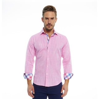 Suslo Couture Men's Pink Cotton Print Button-down Long-sleeve Shirt
