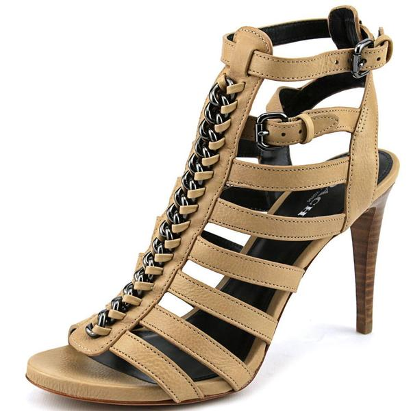 Coach Women's Jewels Tan Leather Strappy Open-toe High Heels